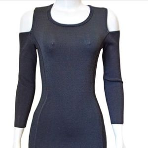 NWT Rebecca Taylor Long sleeve off shd blac dress